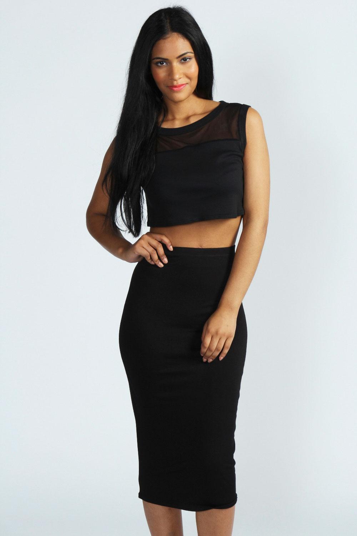 Boohoo Womens Alexis Midi Jersey Tube Skirt