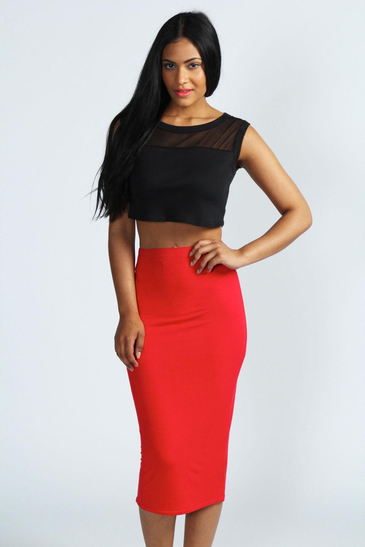 Boohoos Womens Alexis Midi Jersey Tube Skirt | eBay