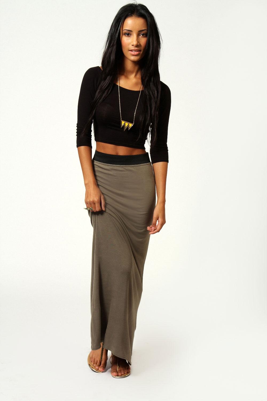 Boohoo Womens Helena Contrast Waistband Jersey Maxi Skirt | eBay
