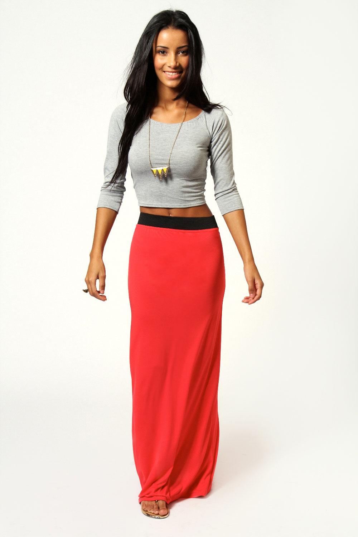 Boohoos Womens Helena Contrast Waistband Jersey Maxi Skirt | eBay