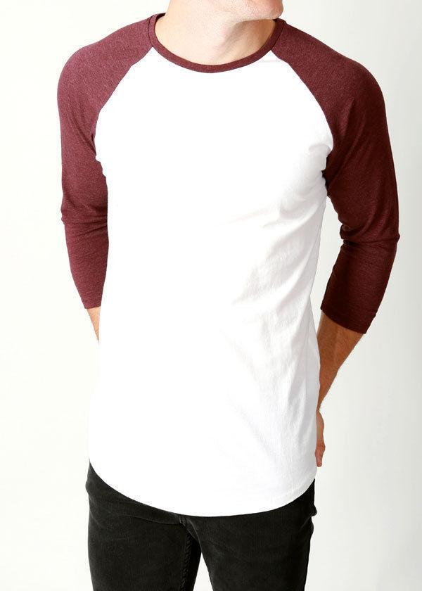 Basics-mens-premium-Raglan-style-tee-3-4-sleeve-designer-plain-raglans-50rrp