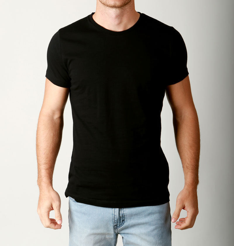 New mens basic crew neck tees cotton plain t shirts casual for Athletic fit t shirts for men
