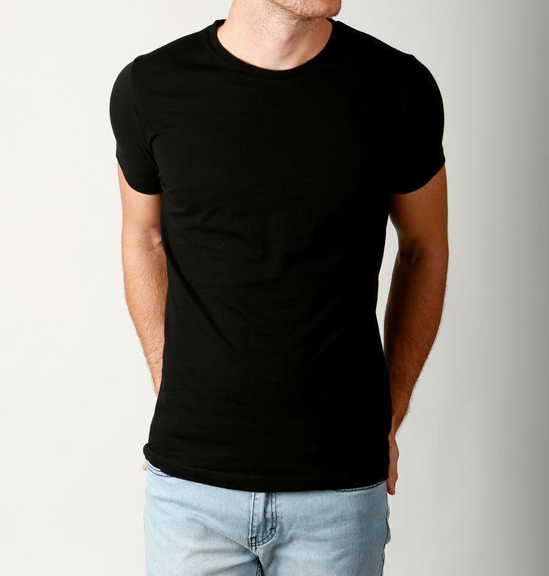 b89318e1ffde1a New Mens Basic CREW neck Tees cotton Plain t-shirts Casual Slim Fit ...