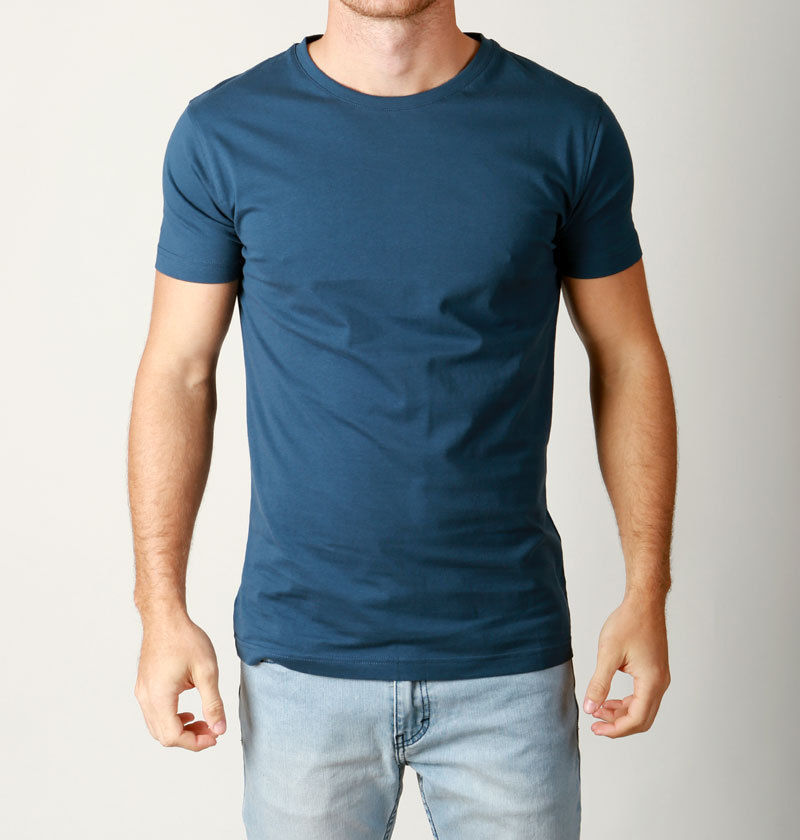 New Mens Basic Crew Neck Tees Cotton Plain T Shirts Casual