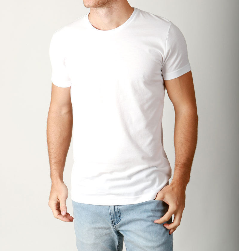 New mens basic crew neck tees cotton plain t shirts casual for Mens casual tee shirts