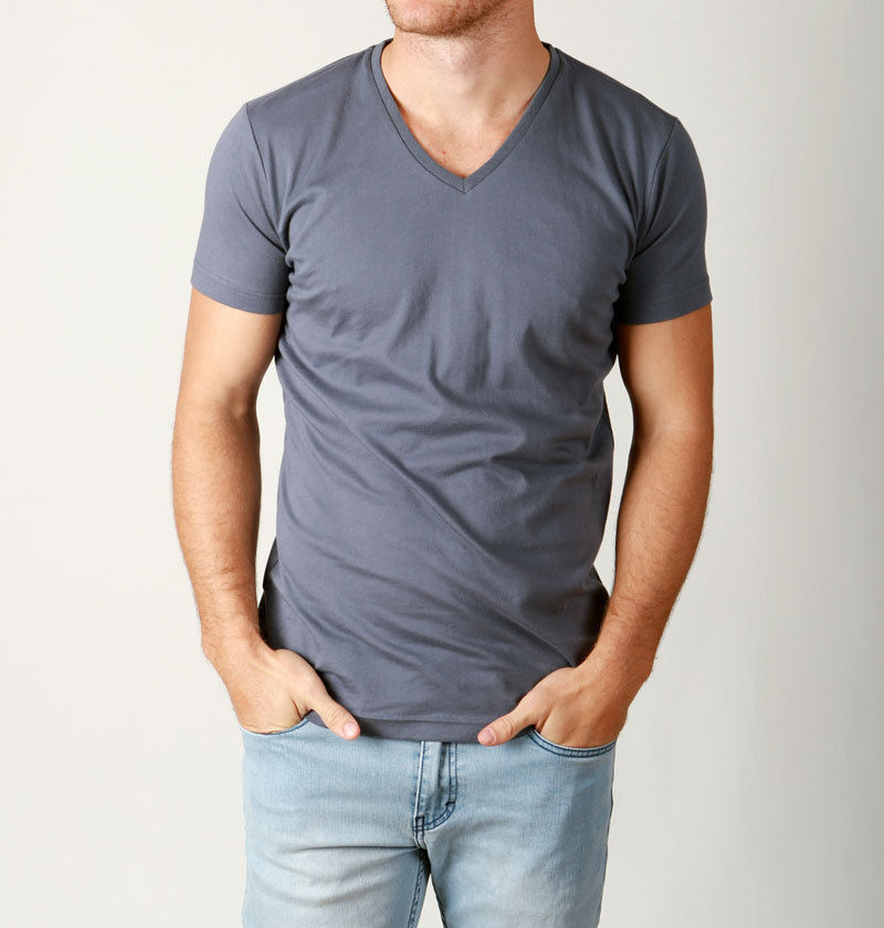 Mens basic plain cotton tee v neck tees quality t shirts for Plain quality t shirts