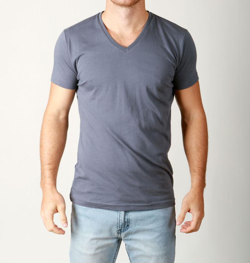 Mens premium cotton v neck tees quality plain t shirts for Premium plain t shirts