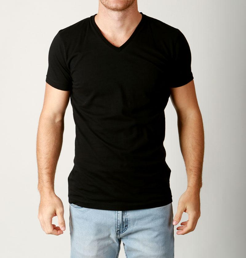New mens basic v neck t shirt slim fit cotton premium slim for Premium plain t shirts