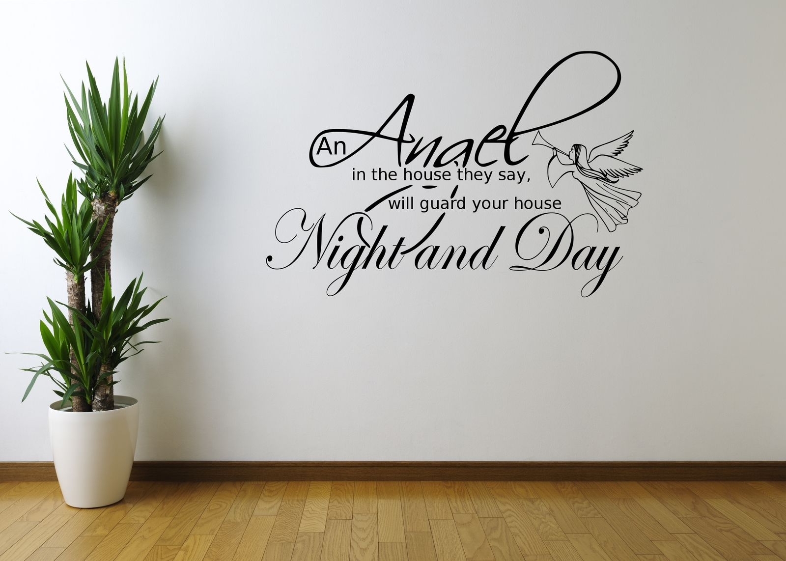 Angel night home quote art wall sticker decal mural for Custom vinyl mural prints