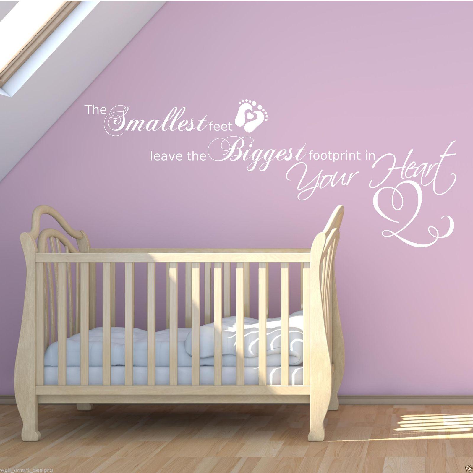 Wonderful Baby Footprints Love Heart Childrenu0027s Bedroom Wall Art Sticker Quote Decal  Mural Part 12