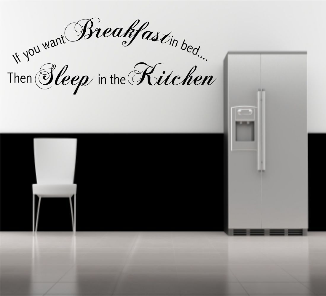 Breakfast Bed Sleep Kitchen Wall Art Quote Phrase Stickers Mural ...