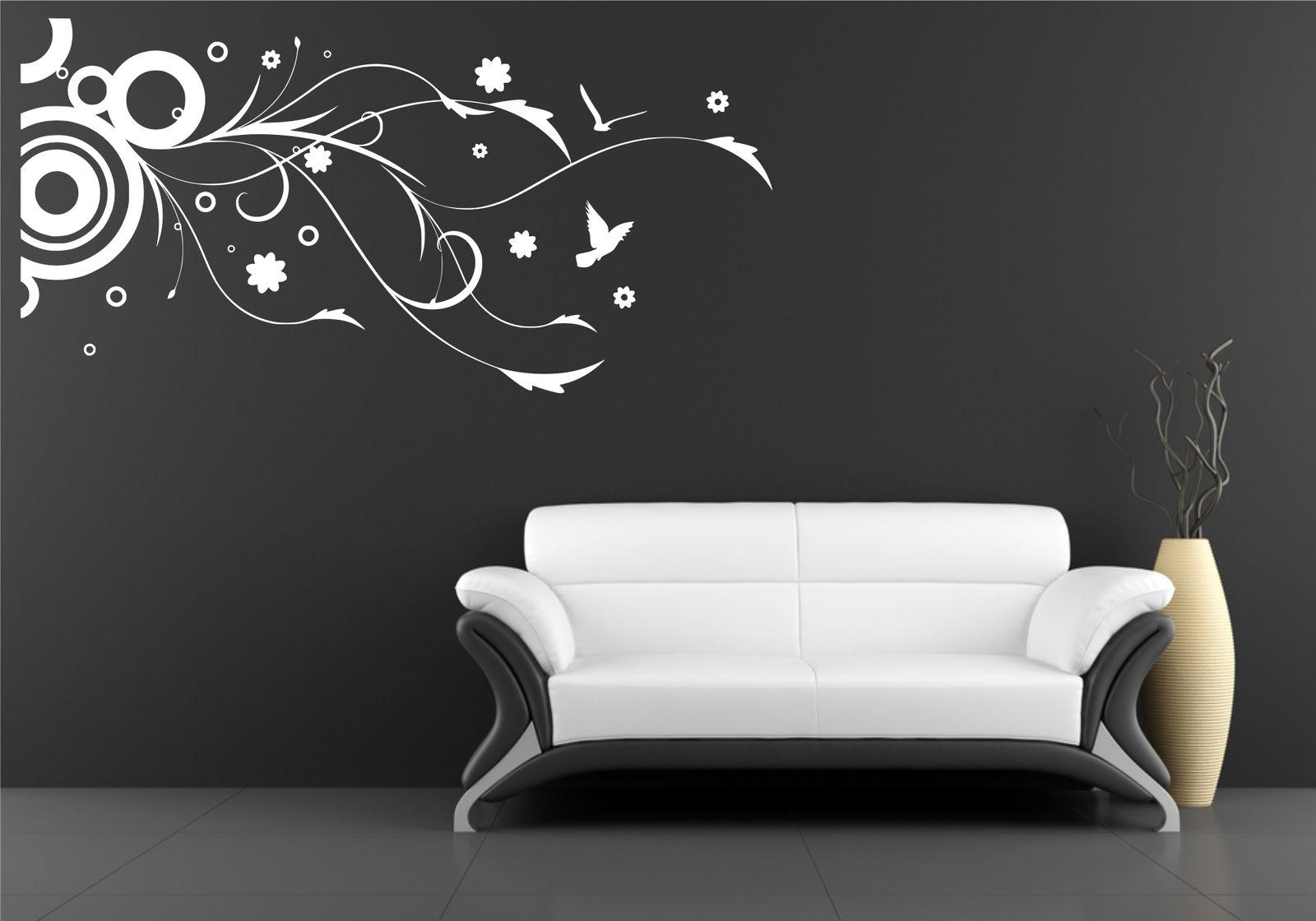 circle birds flower floral wall art wall sticker decal mural stencil vinyl print ebay. Black Bedroom Furniture Sets. Home Design Ideas