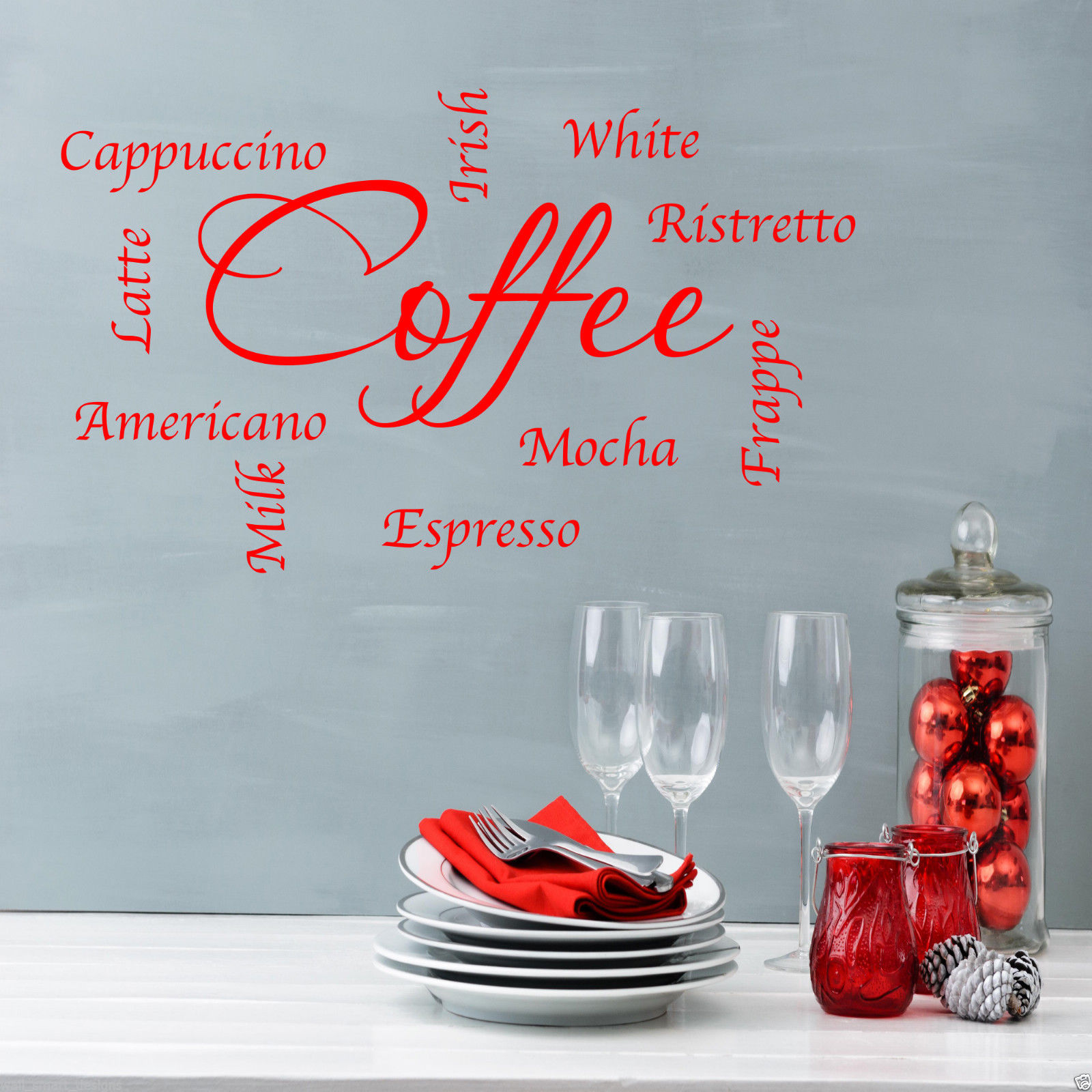 COFFEE WORDS PHRASES KITCHEN Wall Art Sticker Lounge Quote Decal ...