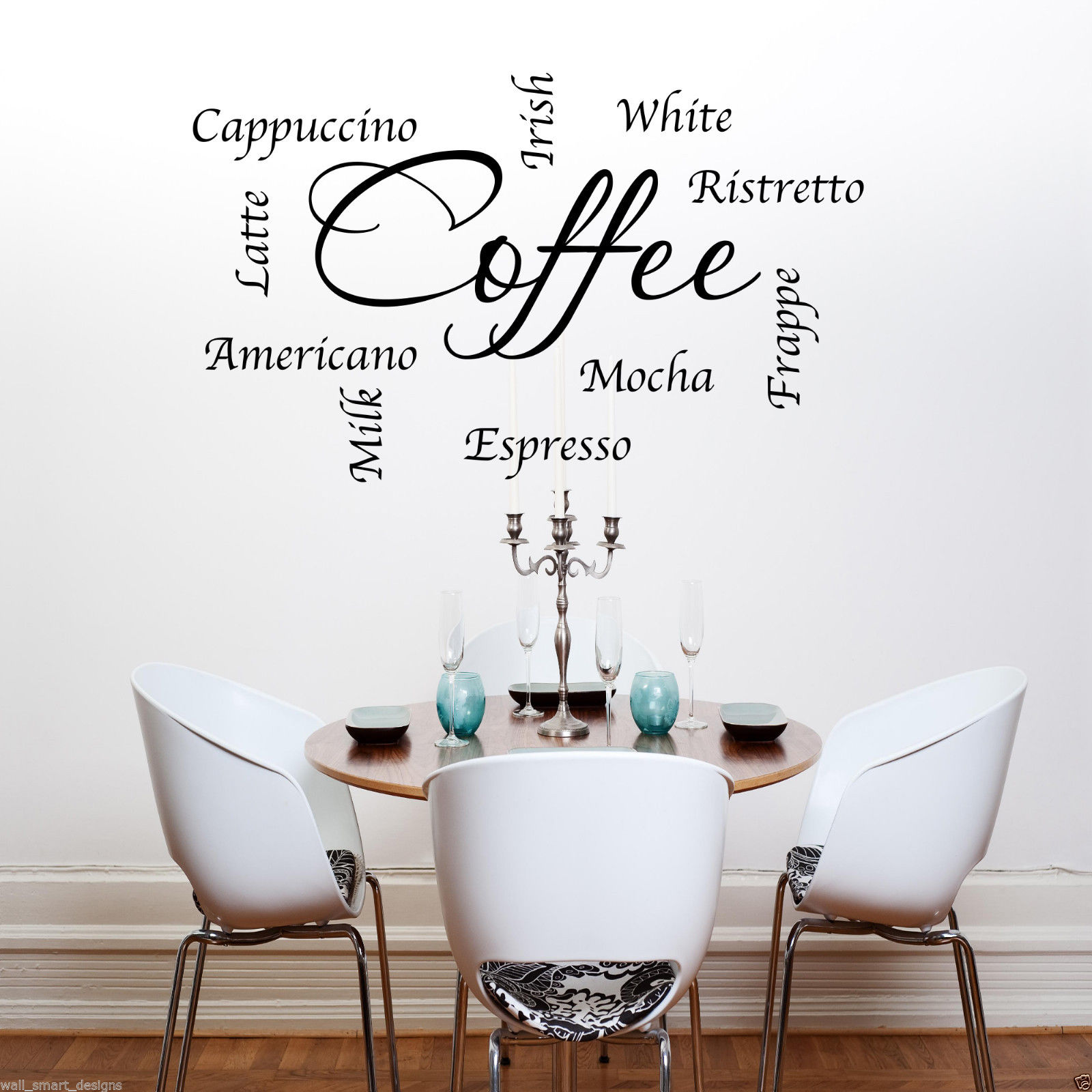 Coffee words phrases kitchen wall art sticker lounge quote for Phrases murales