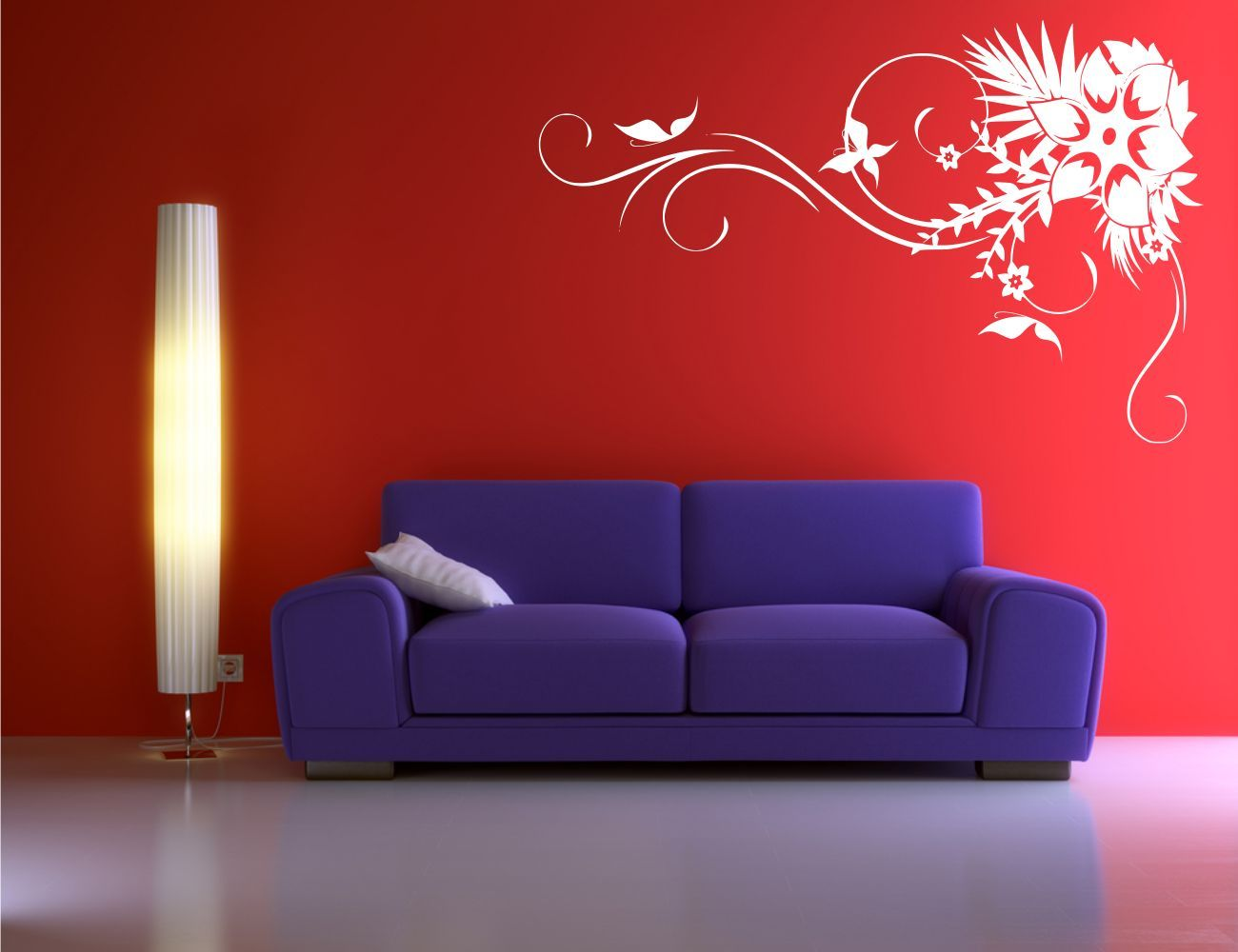 CORNER FLOWER BUTTERFLY VINE ART WALL STICKER DECAL MURAL STENCIL