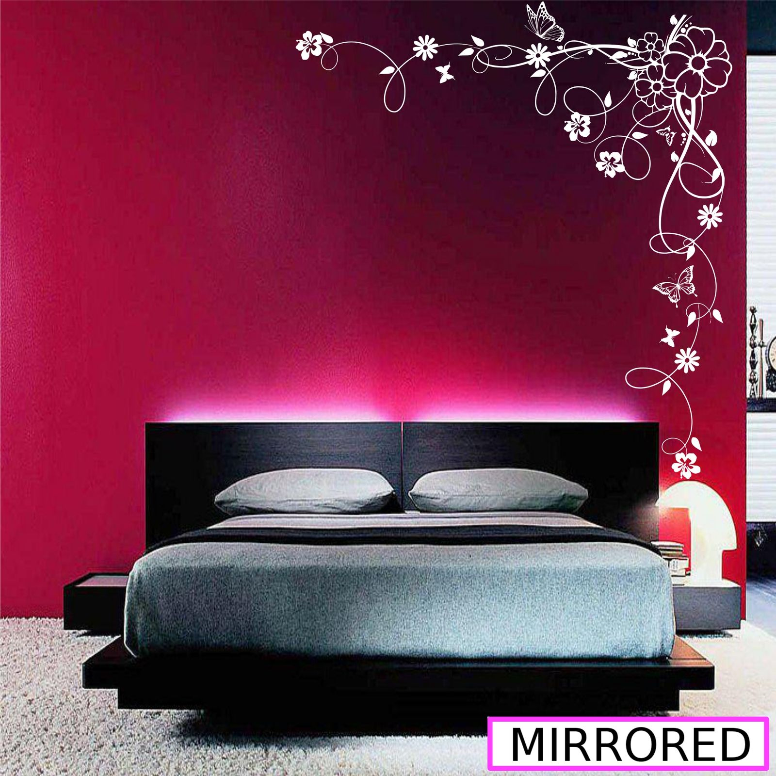 90 X 22 Large Vine Butterfly Wall Decals Removable: Corner Flower Vine Hibiscus Wall Art Sticker Vinyl