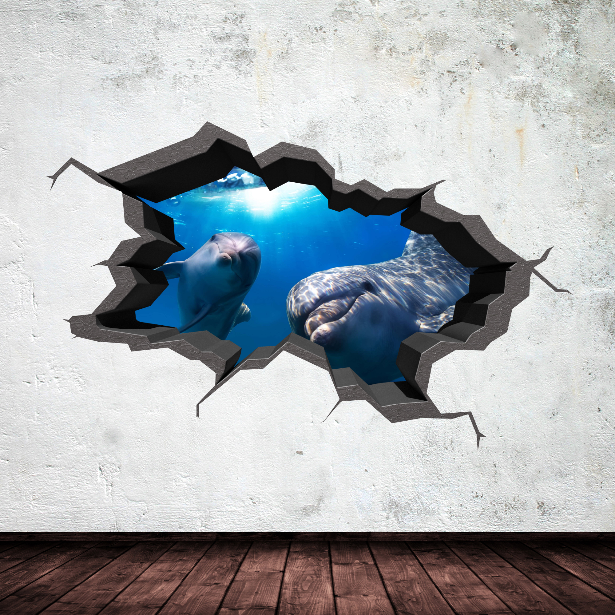FULL COLOUR 3D AQUARIUM DOLPHIN UNDER WATER CRACKED 3D WALL ART STICKER  DECAL 9 Part 64