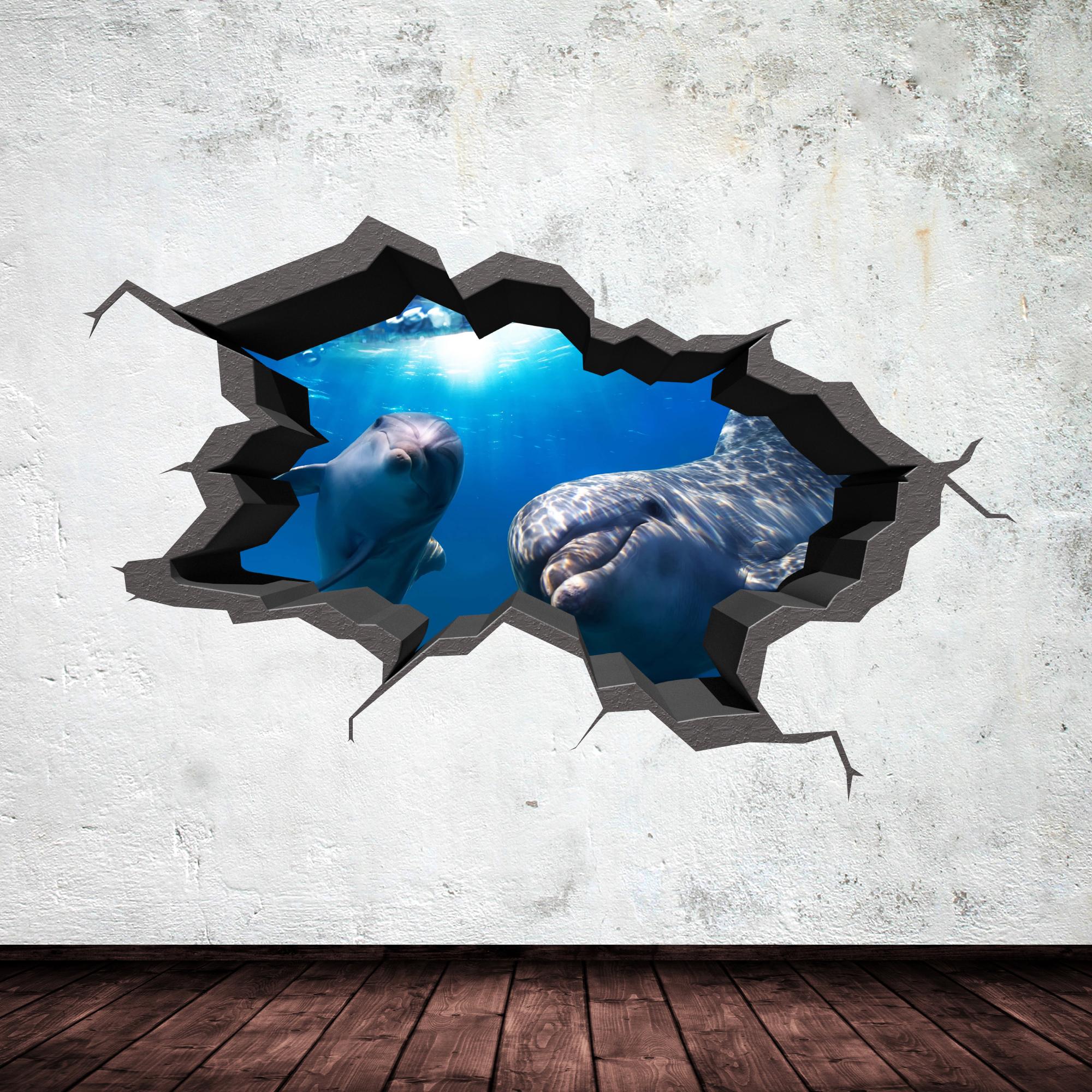 Full colour 3d aquarium dolphin under water cracked 3d wall art full colour 3d aquarium dolphin under water cracked 3d wall art sticker decal 9 amipublicfo Gallery