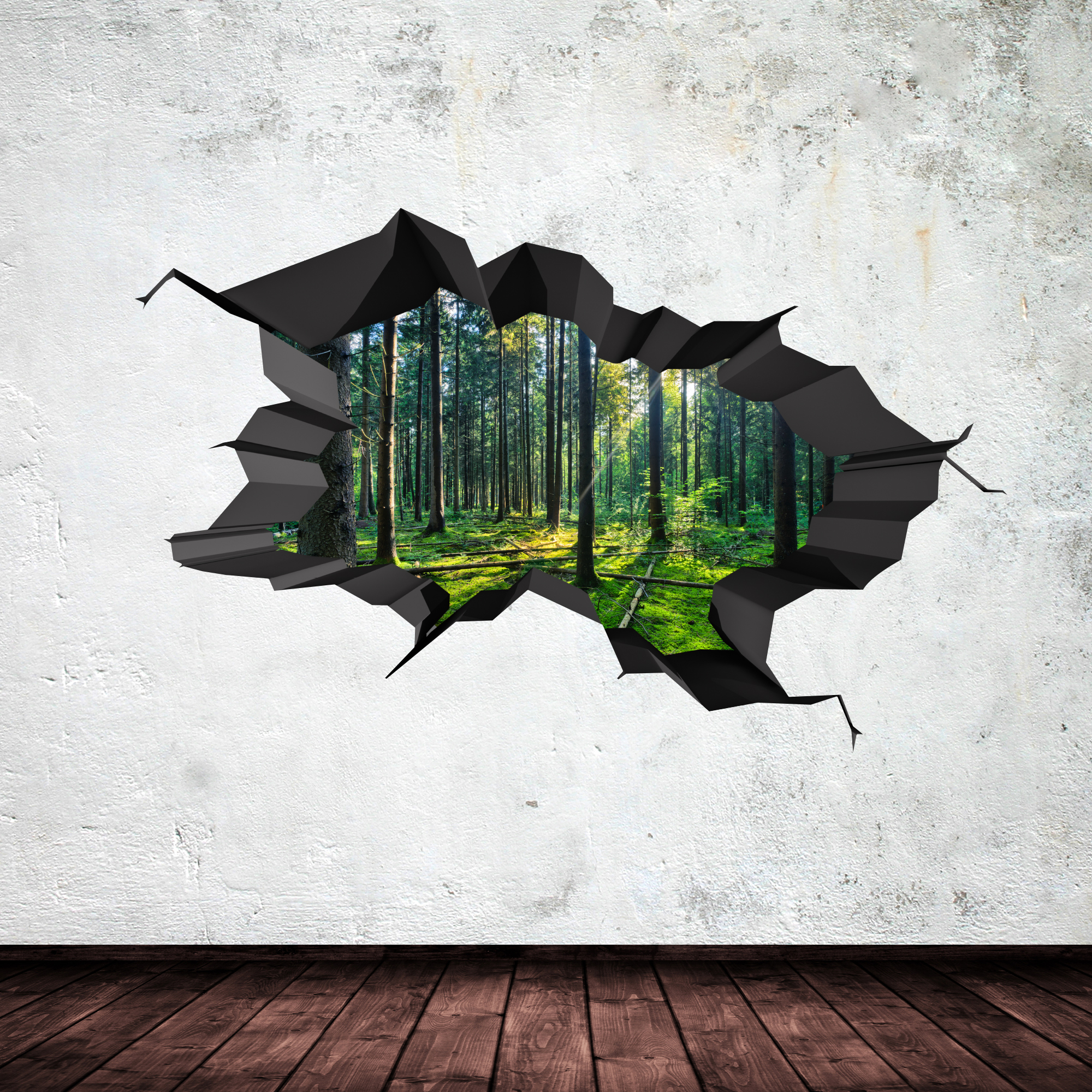FULL COLOUR WOODS FOREST TREES JUNGLE CRACKED 3D