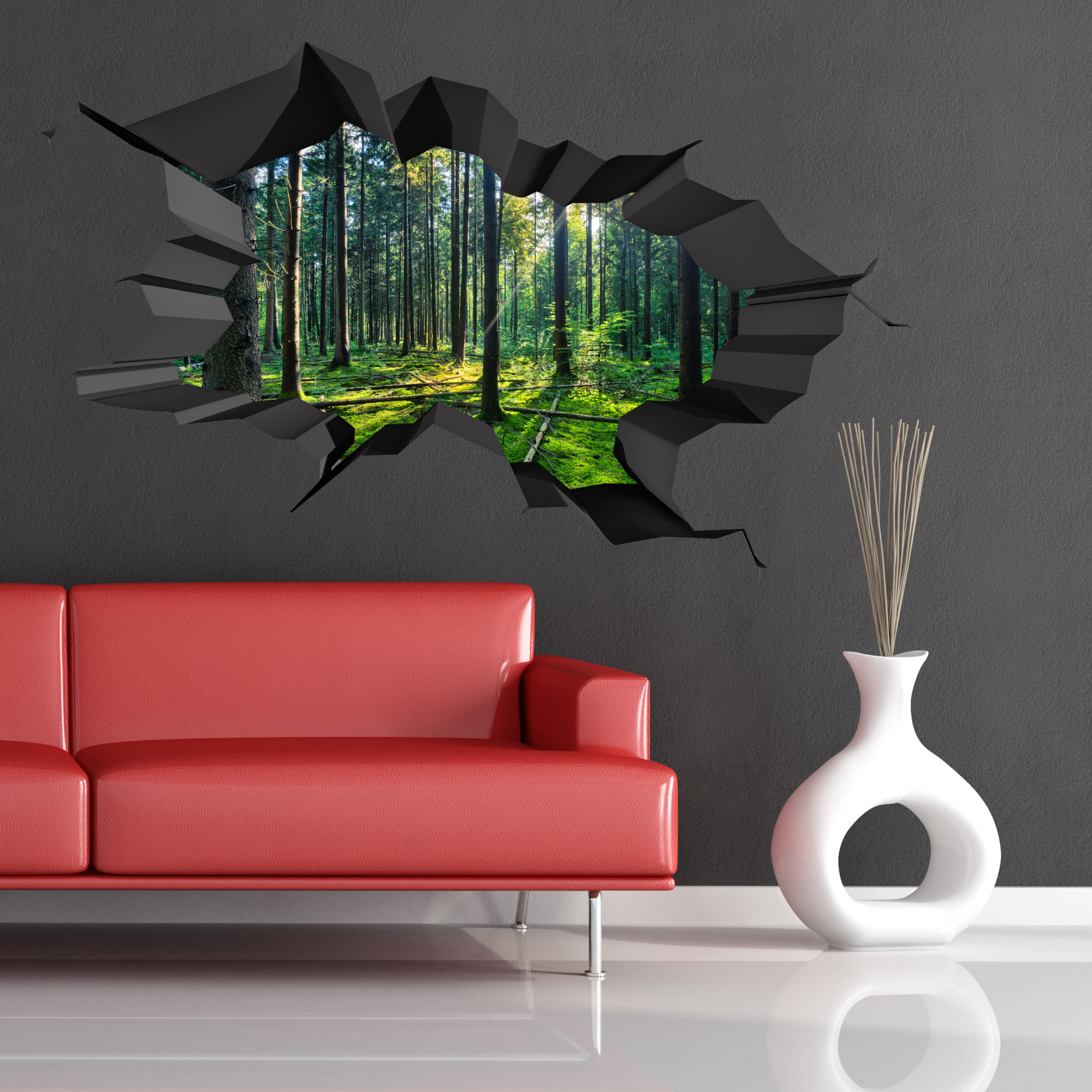 Full colour woods forest trees jungle cracked 3d wall art for Decor mural 3d