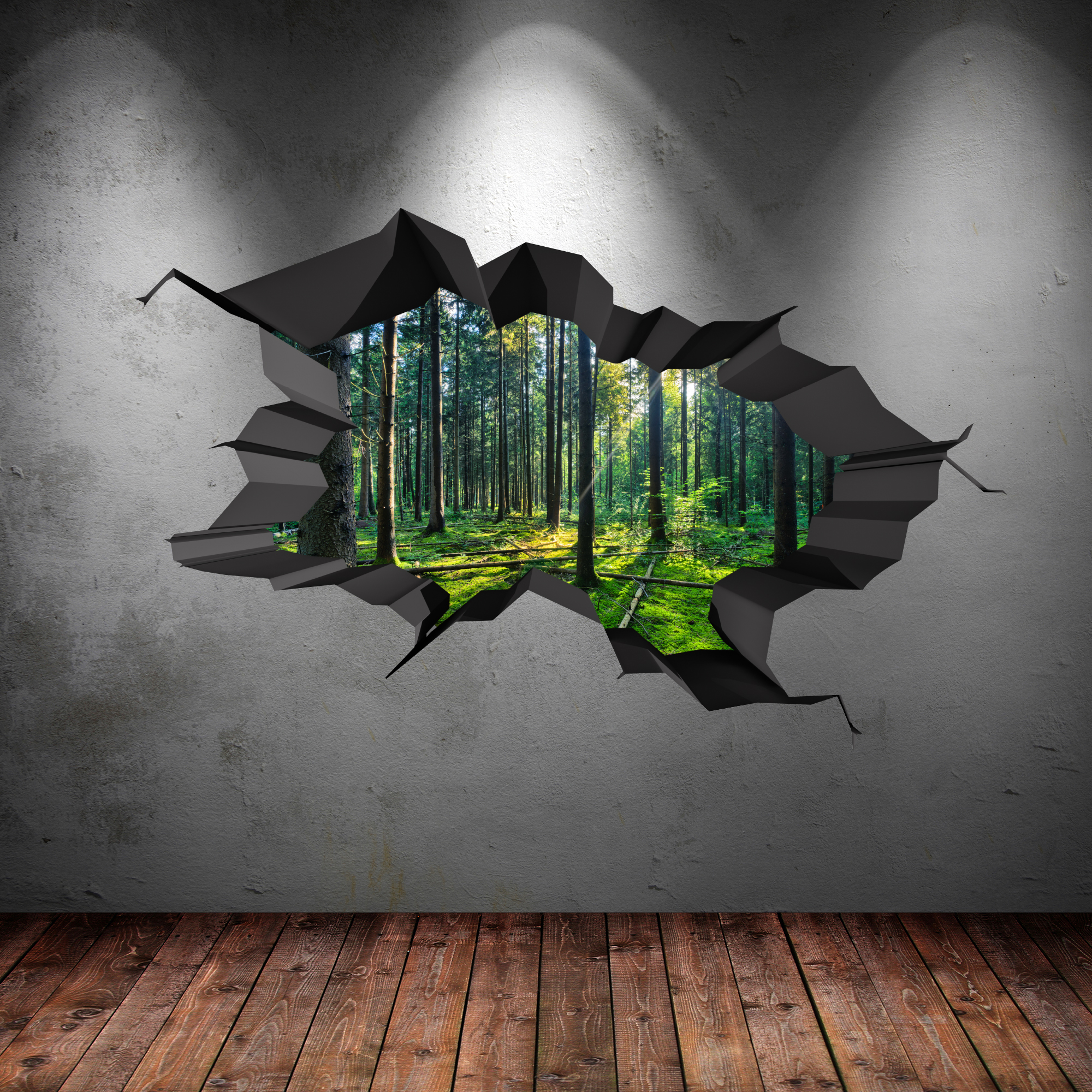 full colour woods forest trees jungle cracked 3d wall art