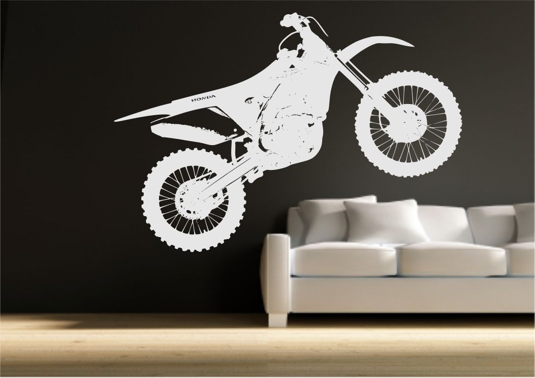 Crosser motocross bike wall sticker bedroom stencil transfer art ...
