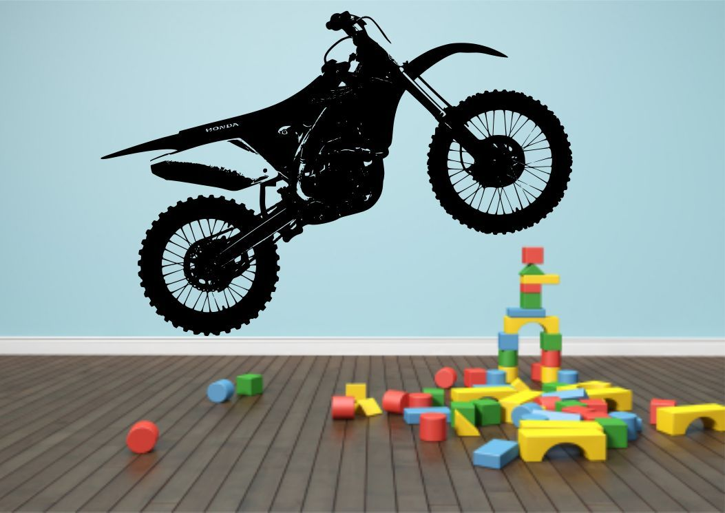 Crosser motocross bike wall sticker bedroom stencil for Dirt bike wall mural