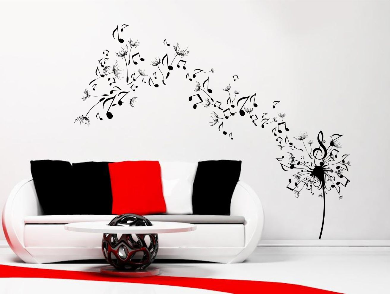 dandelion clock seeds music note wall decal sticker wall decor wall sticker blowing music vinyl record a