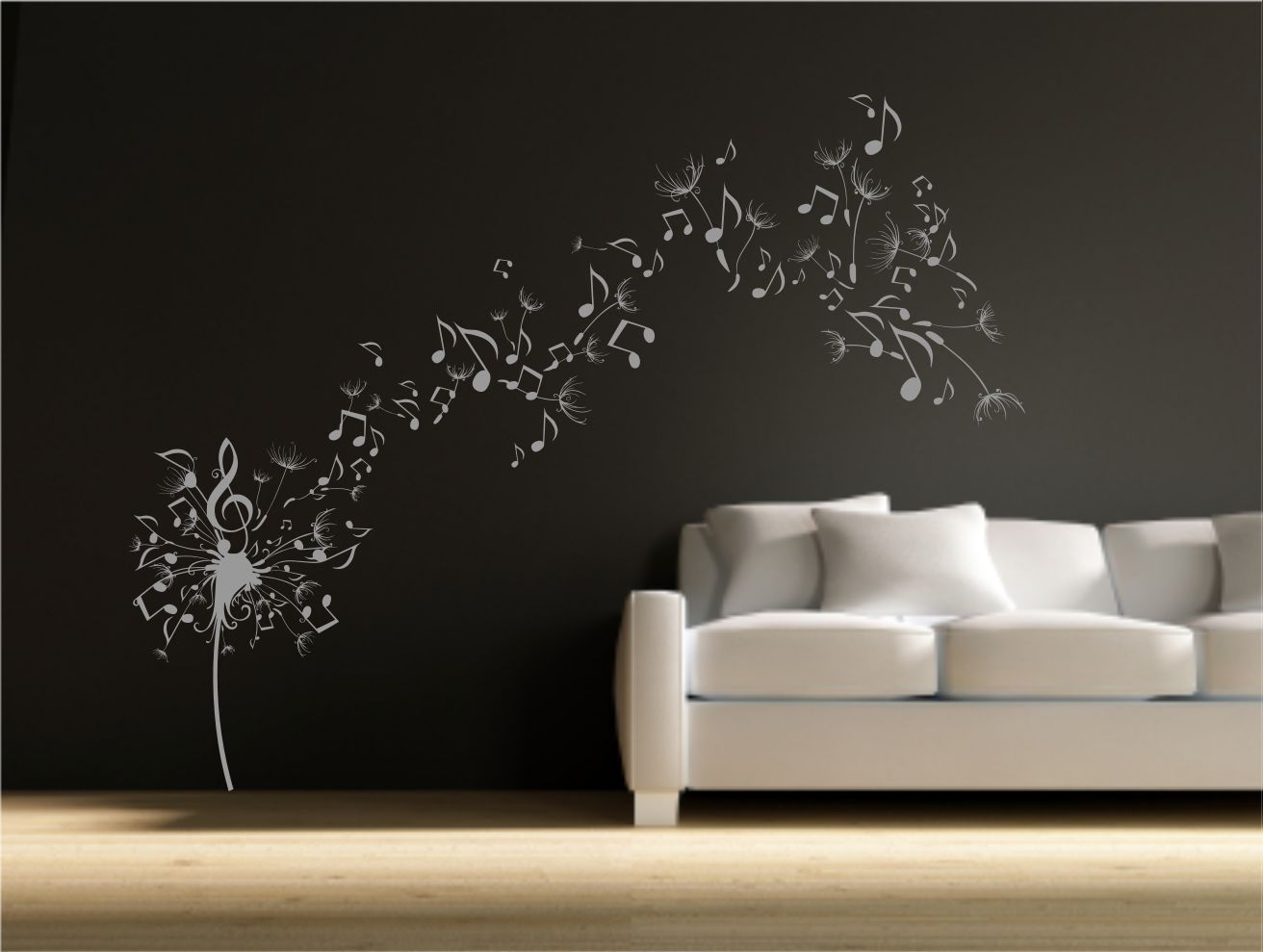 Wall Transfer Stickers Dandelion Clock Seeds Music Note Wall Decal Sticker