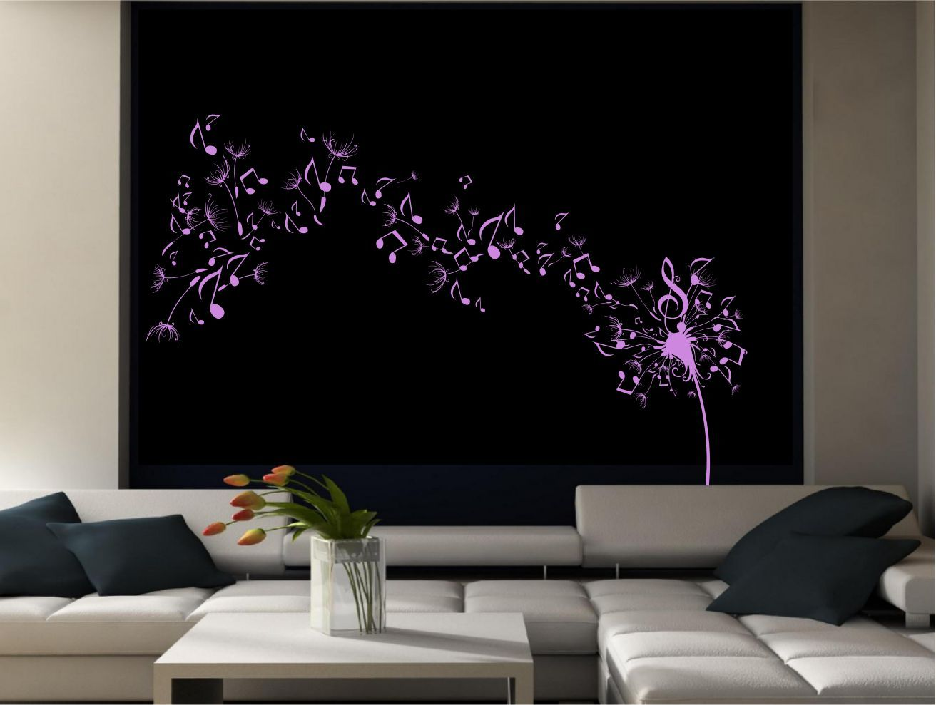 Dandelion clock seeds music note wall decal sticker for Clock wall mural