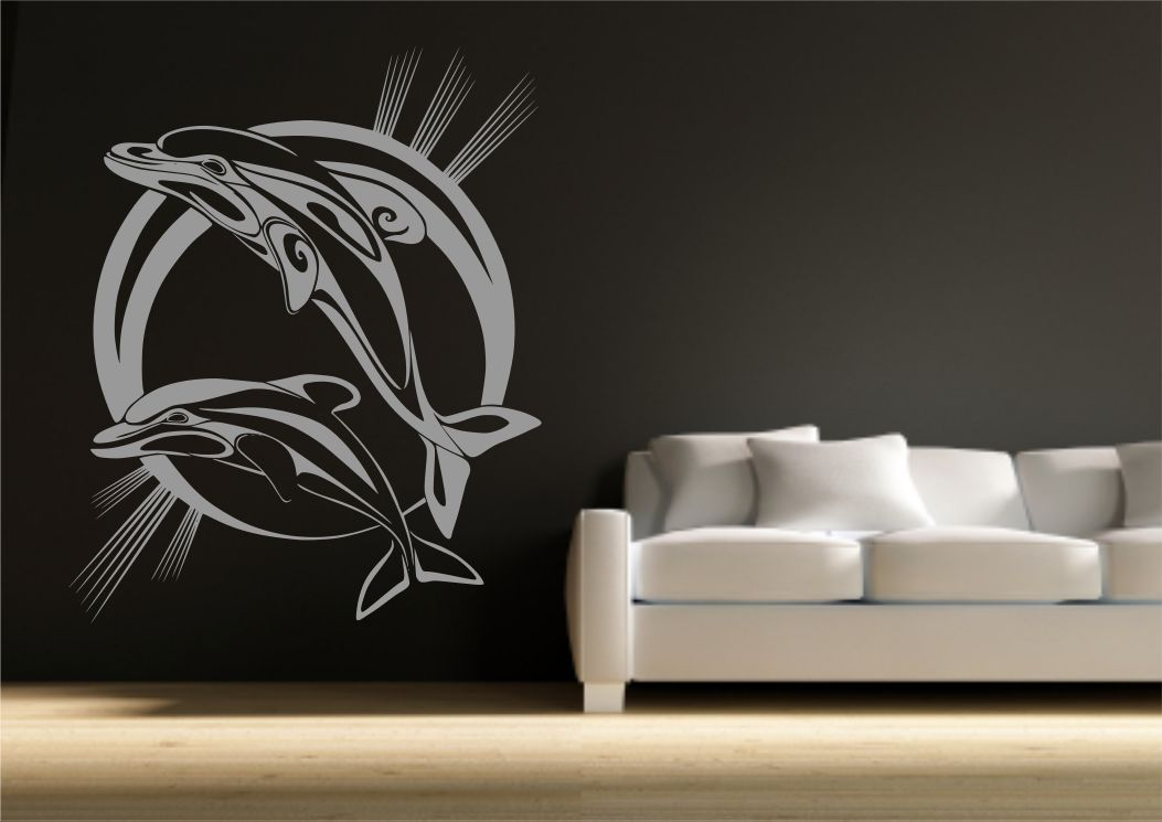Dolphin Bathroom Wall Sticker Vinyl Decal Transfer Mural Stencil Art ...