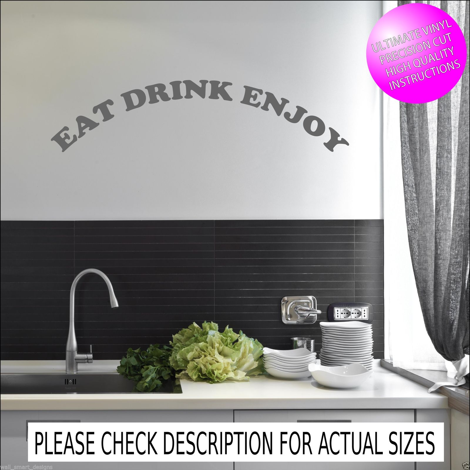 Eat drink enjoy kitchen wall quote sticker mural decal transfer ...