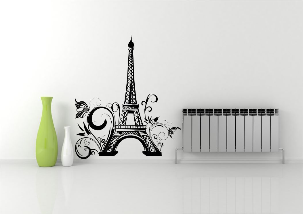 thumbnail 4 - EIFFEL TOWER FLOWERS PARIS WALL STICKER DECAL MURAL STENCIL VINYL PRINT WSD671