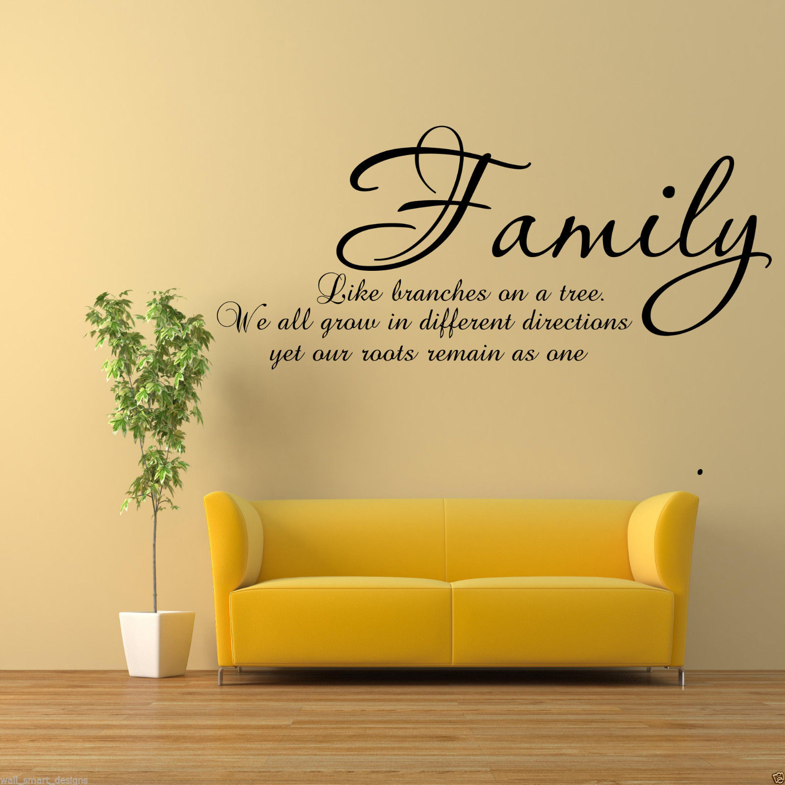 FAMILY BRANCHES ON A TREE Wall Art Sticker Lounge Quote Decal Mural ...