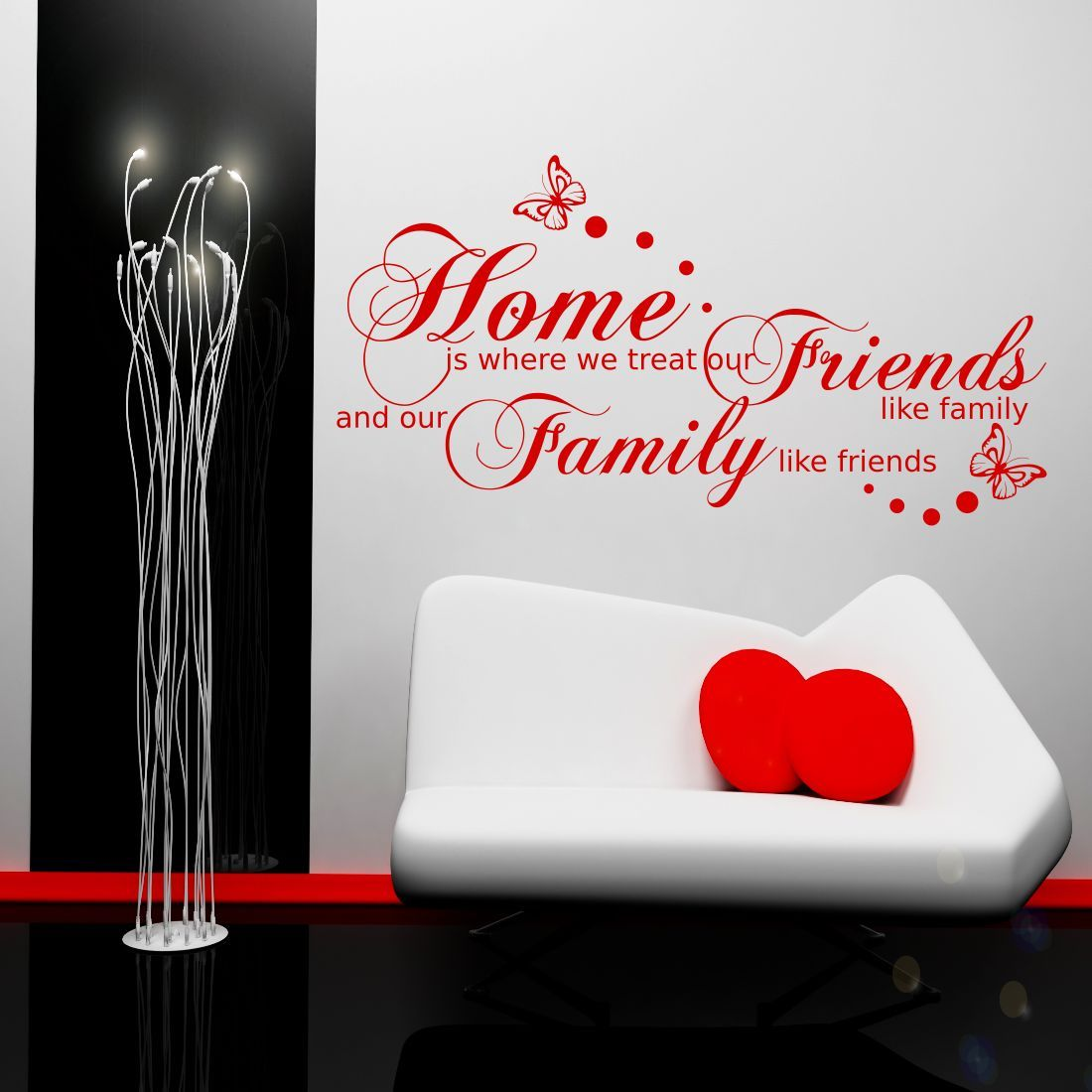 FAMILY FRIENDS HOME QUOTE WALL ART STICKER TRANSFER