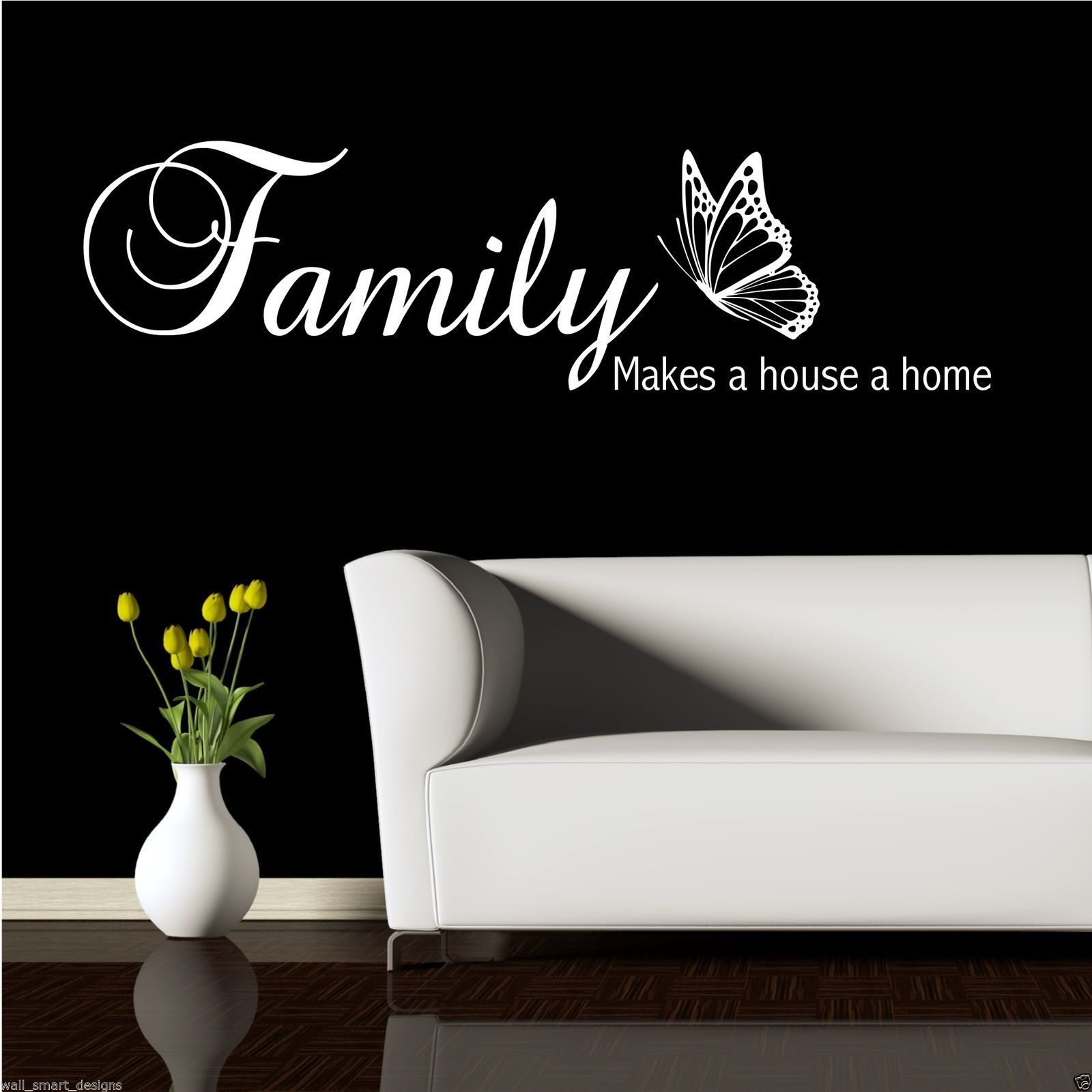 FAMILY HOME HOUSE Wall Quote Sticker Vinyl Art Decal Transfer Mural ...