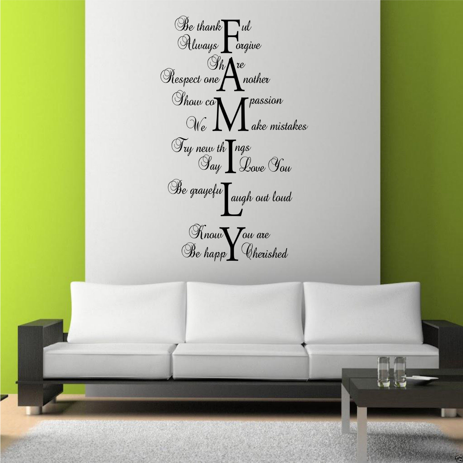 Family love life wall art sticker quote room decal mural for Decor mural wall art