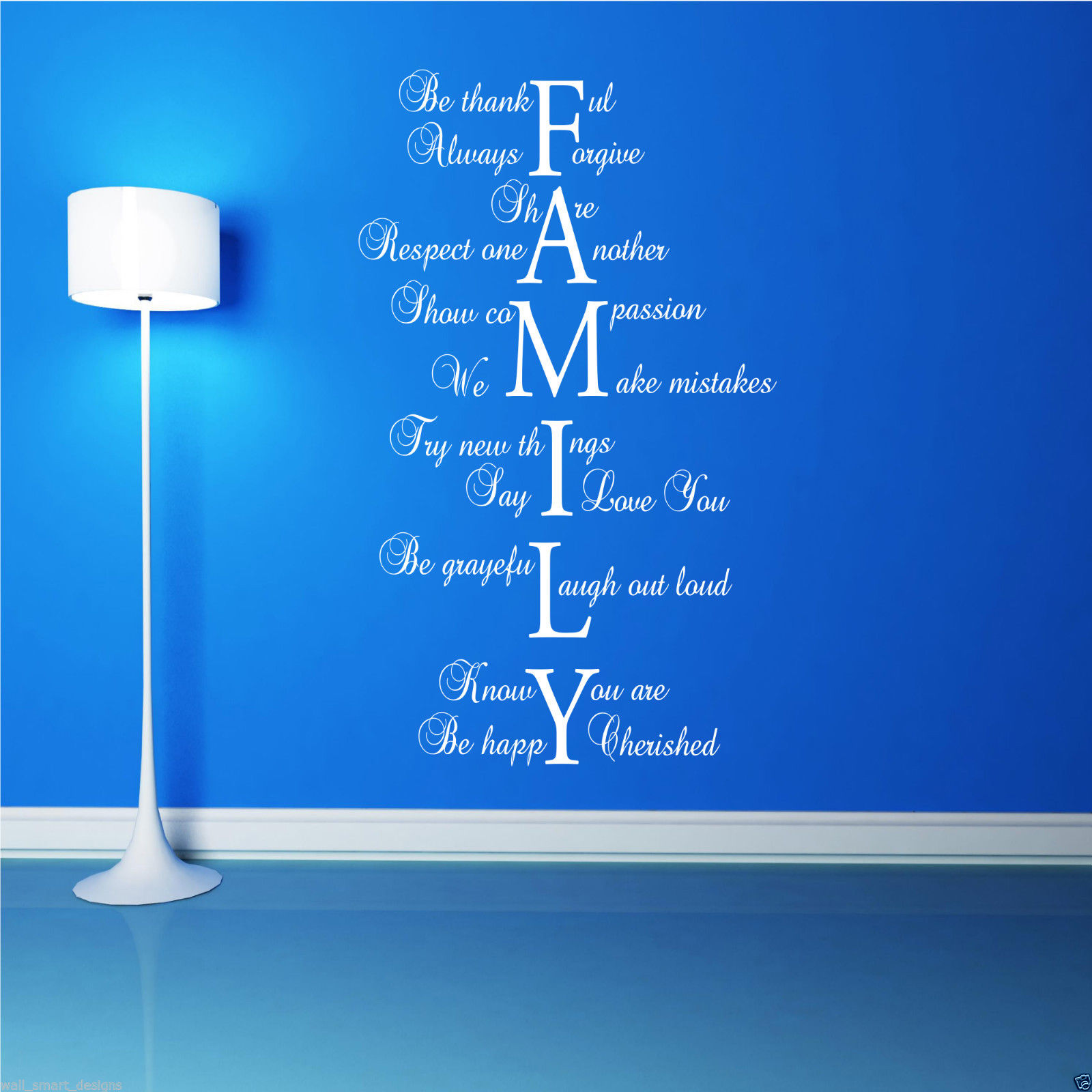 FAMILY LOVE LIFE Wall Art Sticker Quote Room Decal Mural