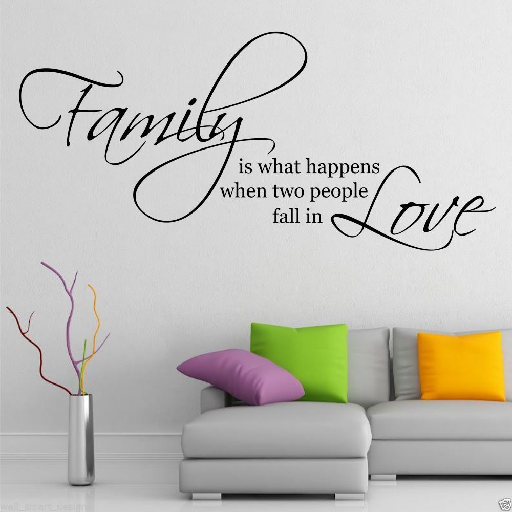 Family love wall art sticker quote living room decal mural - Stickers muraux salon ...