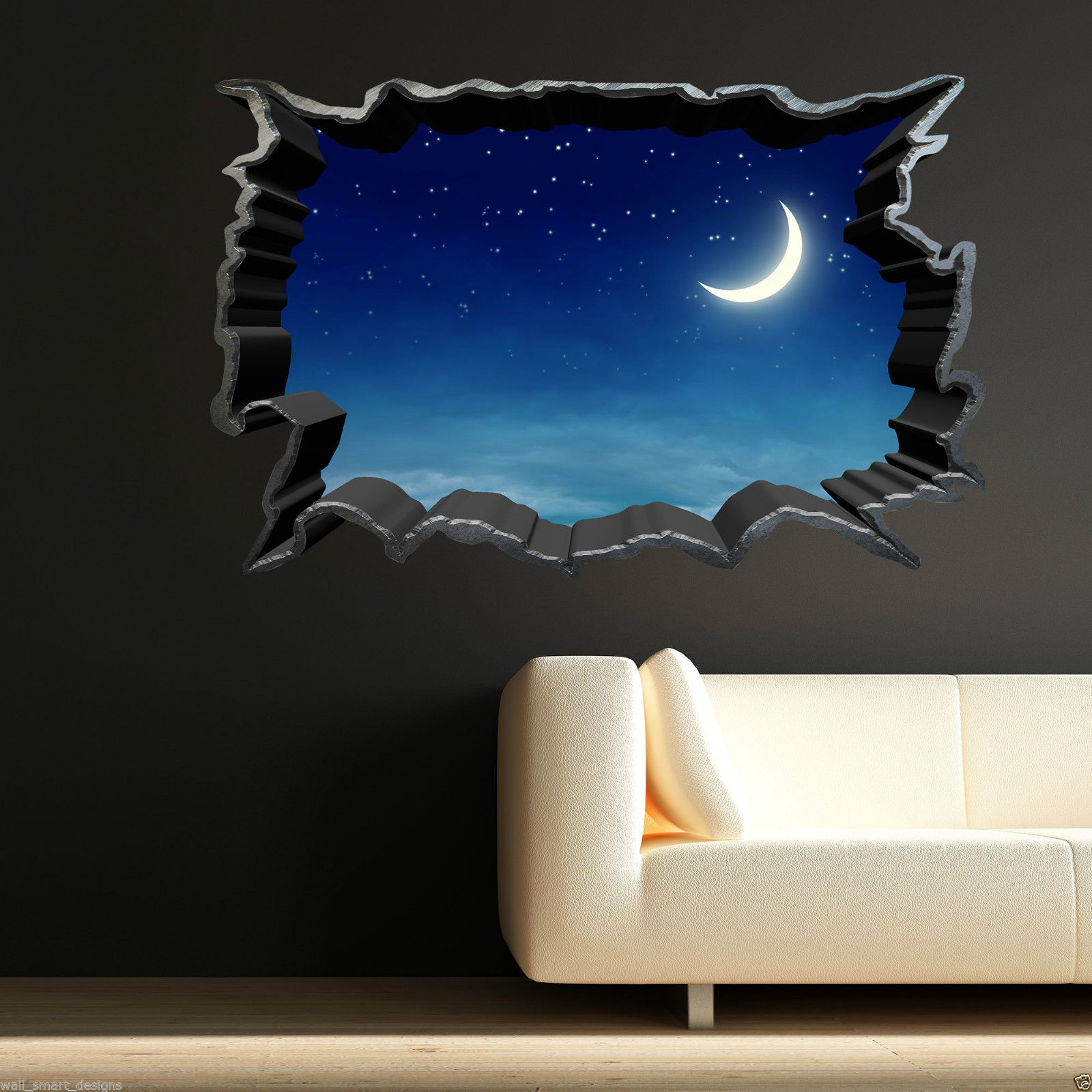 Lovely Full Colour MOON NIGHT SKY STARS Wall Art Sticker Decal Transfer Graphic  Mural Part 15