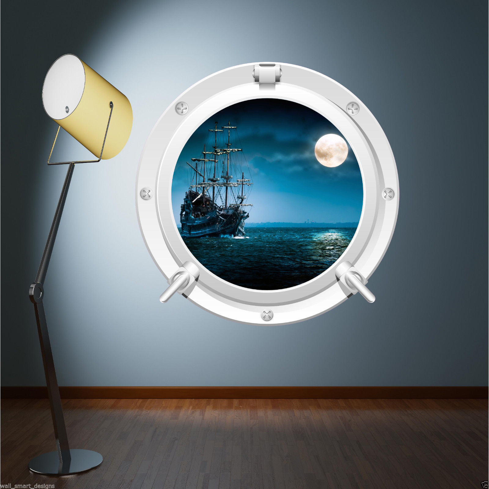 FULL COLOUR PIRATE SHIP SEA PORTHOLE WALL STICKER KIDS BEDROOM BATHROOM  DECAL. Sea Wall Stickers   eBay