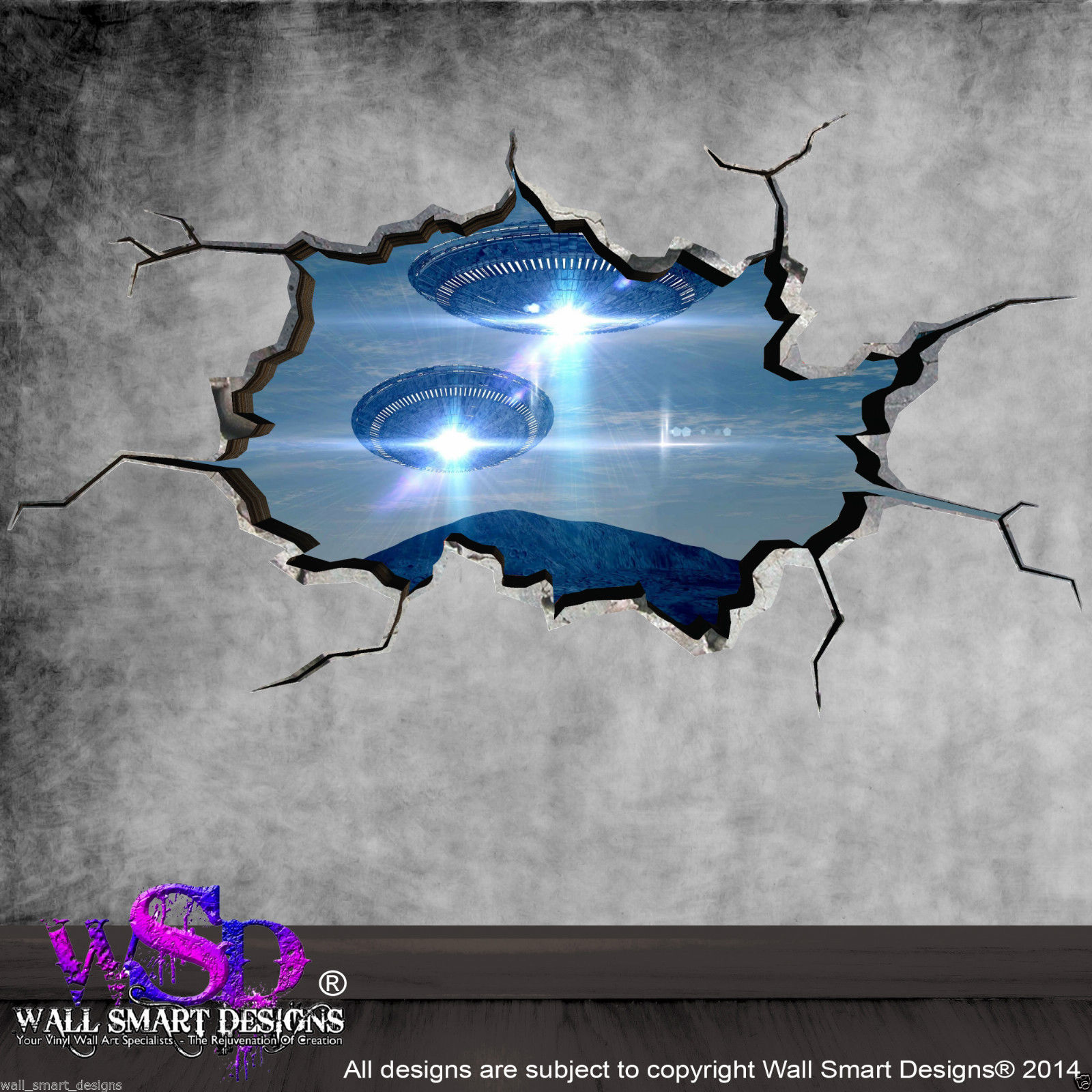 3d Wall Art Full Colour Space Planets Ufo Cracked 3d Wall Art Sticker Boys