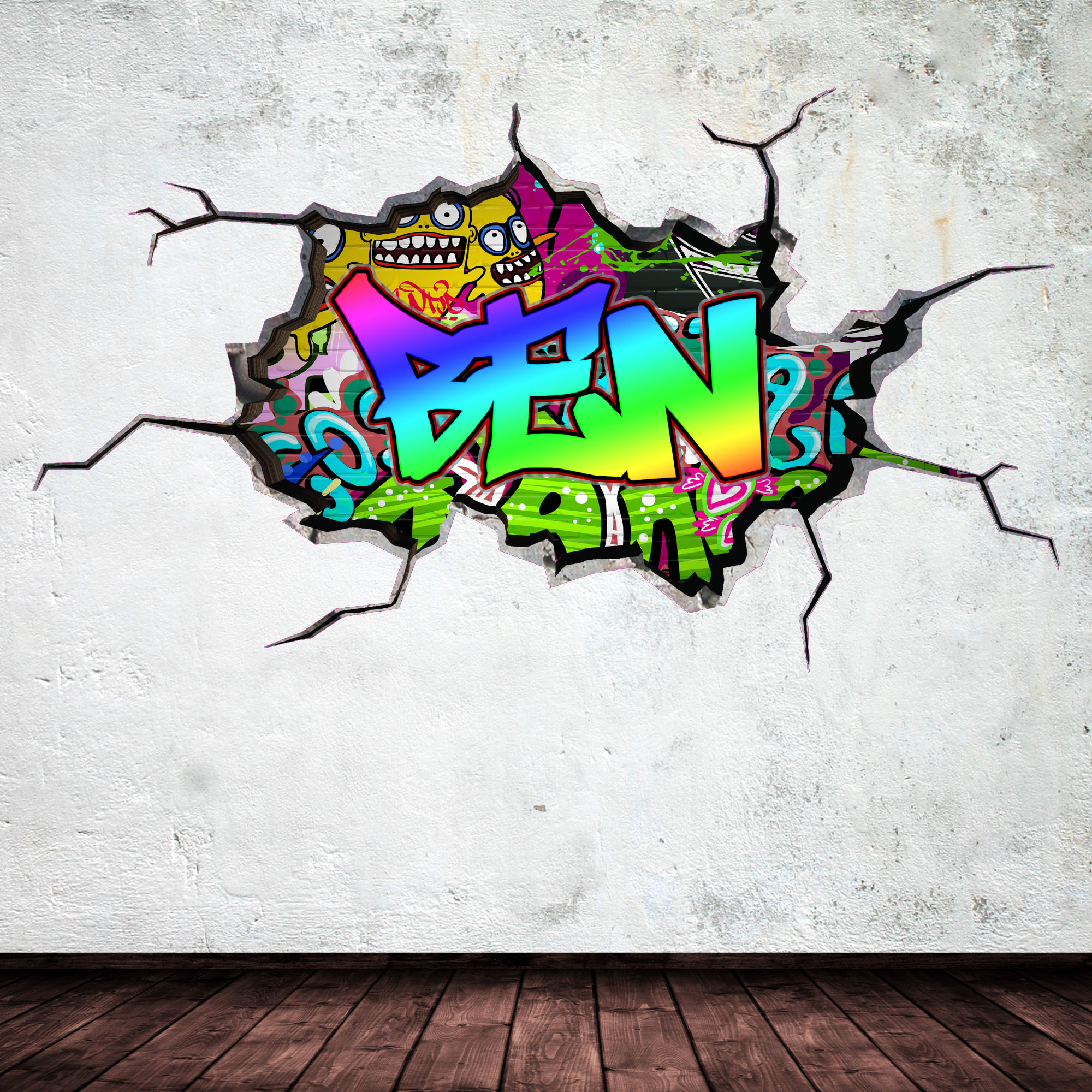 Graffiti wall sticker images home wall decoration ideas full colour personalised 3d graffiti name cracked wall art full colour personalised 3d graffiti name cracked amipublicfo Gallery