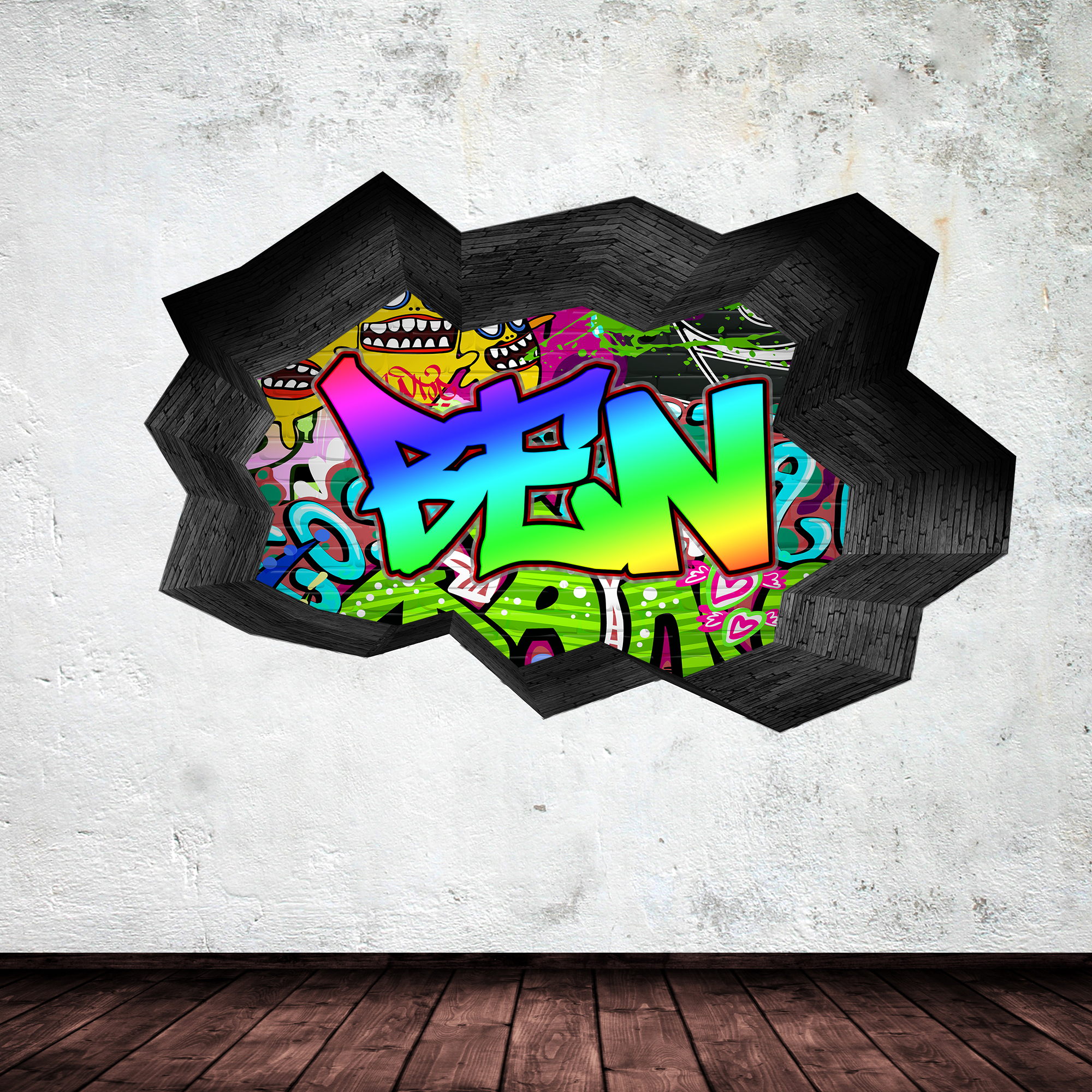 Full colour personalised 3d graffiti name cracked wall art for Sticker mural 3d