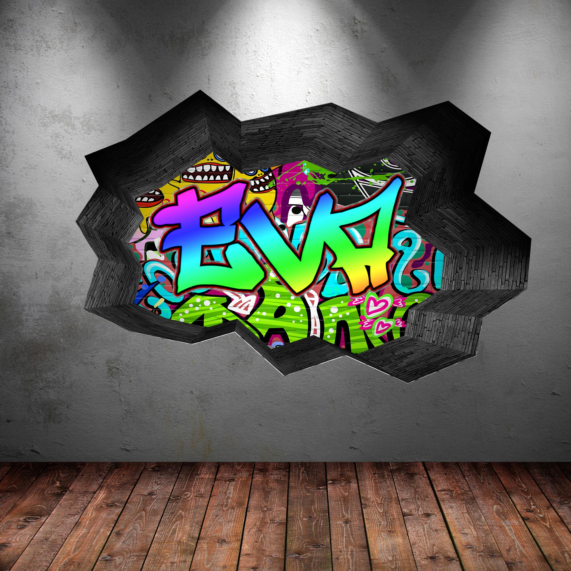 Grafitti wall sticker - Full Colour Personalised 3d Graffiti Name Cracked Wall