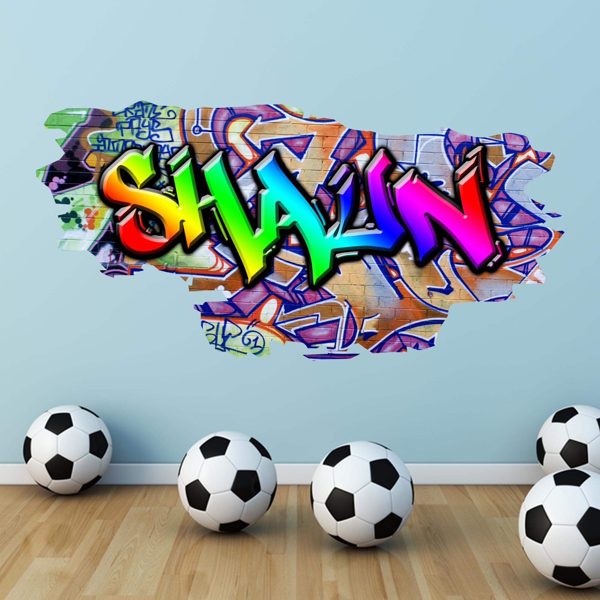 Sticker wall graffiti - Multi Colour Personalised Graffiti Name Brick Wall Sticker Decal Graphic Bedroom