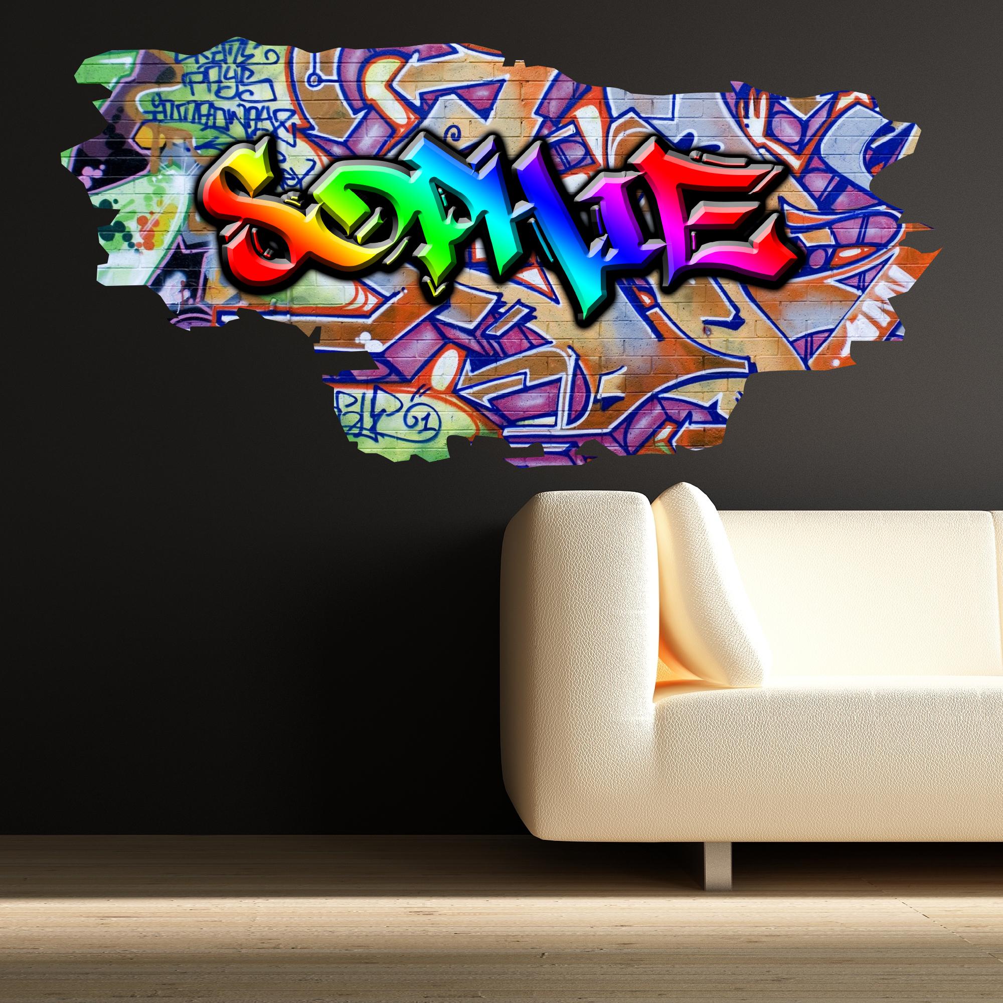 Grafitti wall sticker - Multi Colour Personalised Graffiti Name Brick Wall Sticker Decal Graphic Bedroom Ebay