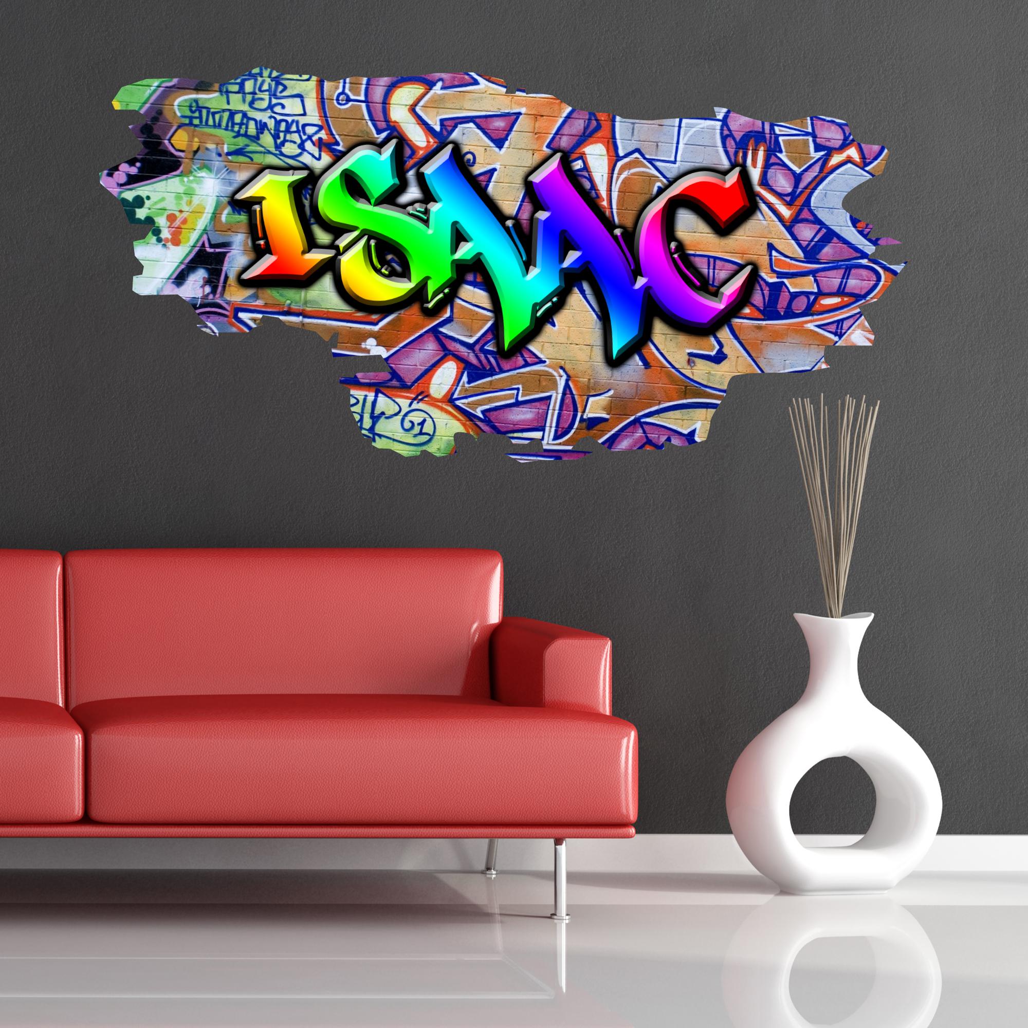Grafitti wall sticker - Multi Colour Personalised Graffiti Name Brick Wall Sticker Decal Graphic Bedroom