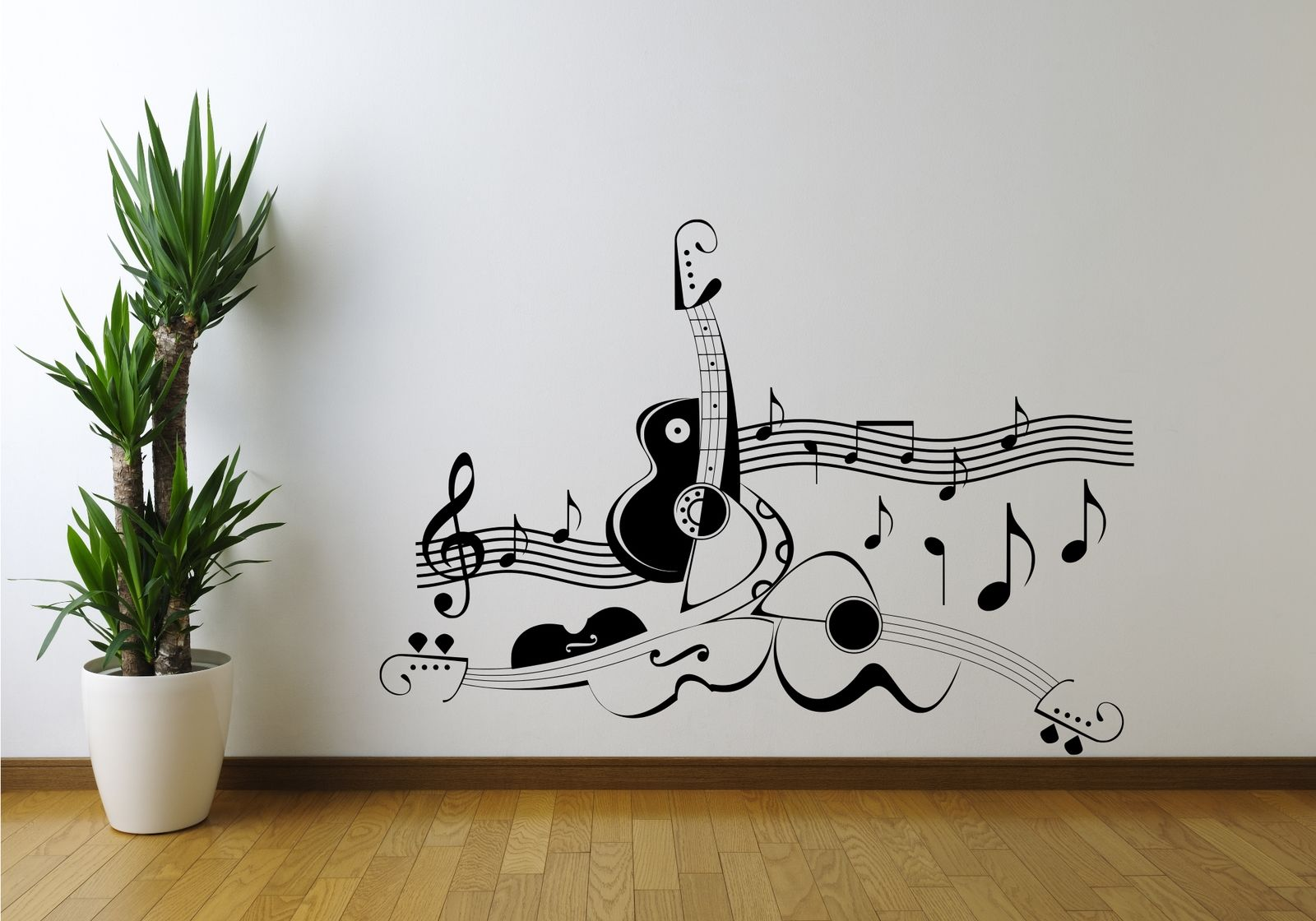 guitar music note symbol violin wall art sticker decal bamboo tree grass wild jungle wall sticker decal mural