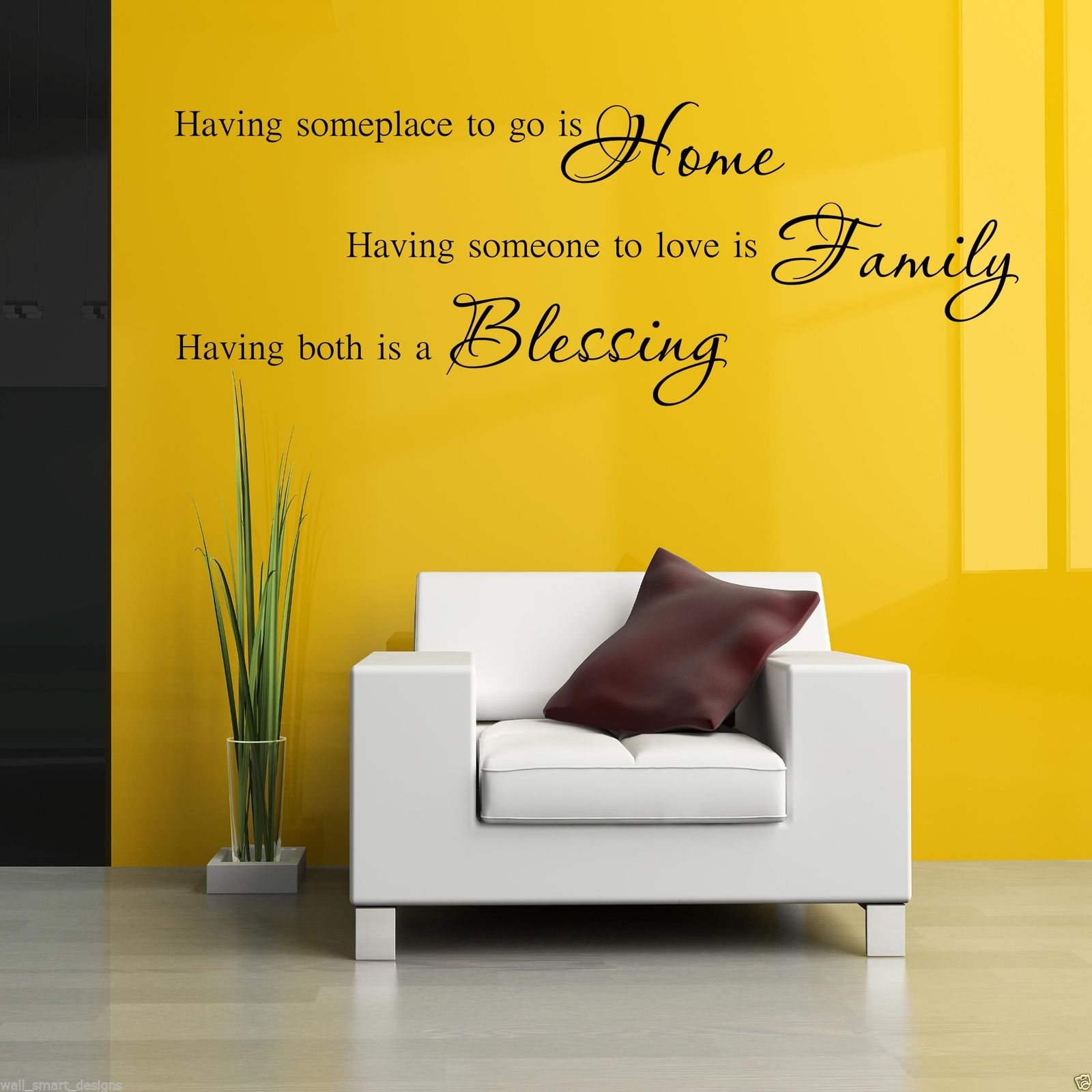 HOME FAMILY BLESSING Wall Art Sticker Lounge Quote Decal Mural ...